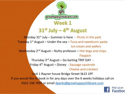Grow Happy Childcare 6 week activites
